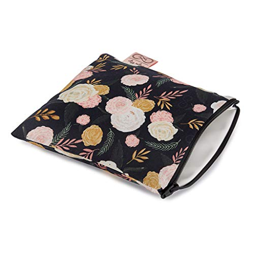 "Chelsea + Cole For Itzy Ritzy Reusable Snack Bag; 7"" x 7"" BPA-Free Snack Bag is Food Safe, Washable & Ideal For Storing Snacks, Pacifiers & Electronics in a Diaper Bag, Purse or Luggage, Black Floral"