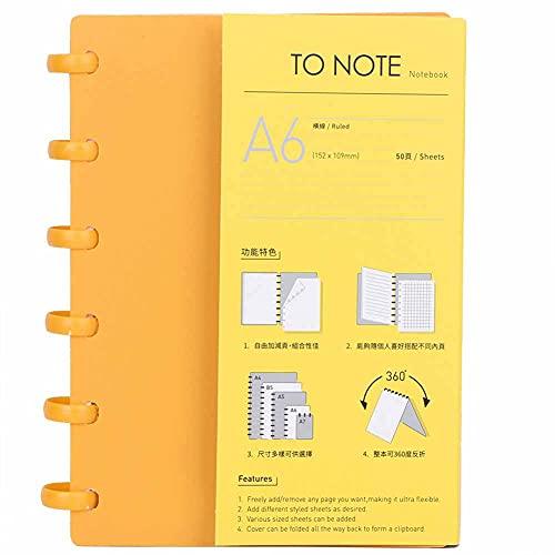 Carpeta de agujero de hongo portátil A6, cuaderno de papel recargable, material de oficina escolar(Línea horizontal (naranja))
