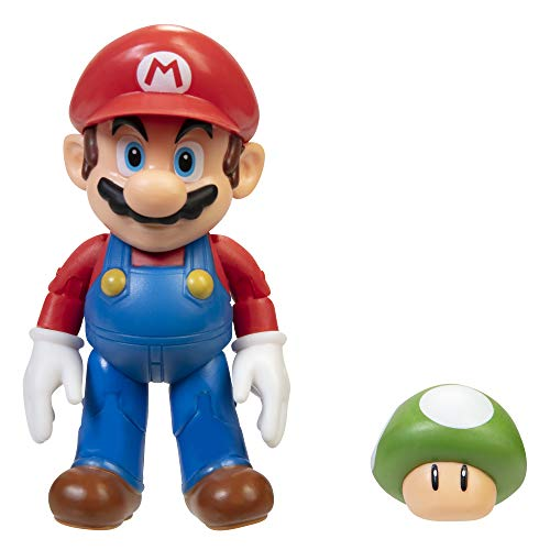 SUPER MARIO Action Figure 4 Inch Mario Collectible Toy with 1 Up Mushroom Accessory
