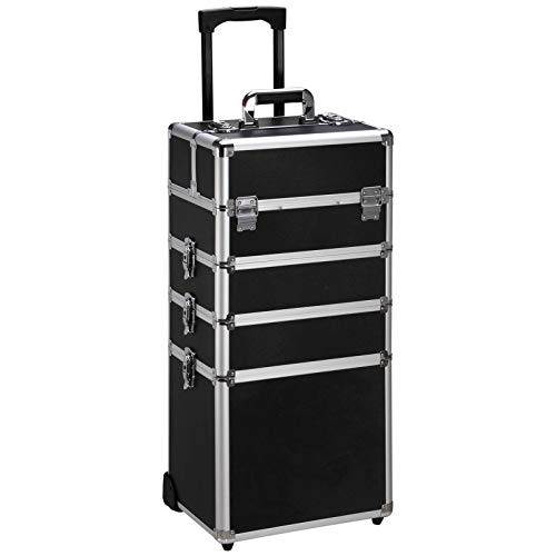 Ollieroo 4 in 1 Aluminum Rolling Cosmetic Makeup Train Cases Trolley Professional Artist Train Case...
