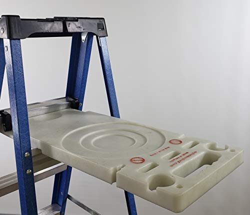Ladder Shelf Systems Pail & Tools Shelf - Designed to Work with Single Sided Fiberglass A-Frame Ladders by Major brands