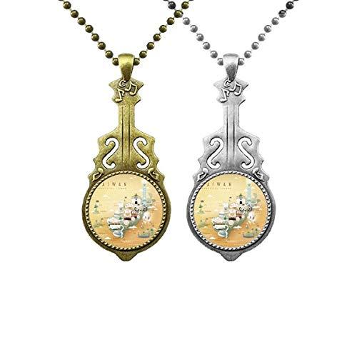 Magnifique collier avec pendentif guitare de voyage de Taïwan