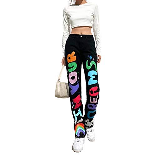DODOYA Y2k - Pantalones vaqueros ajustados para mujer, cintura alta, mezclilla 90, bolsillos rectos, pantalones vaqueros