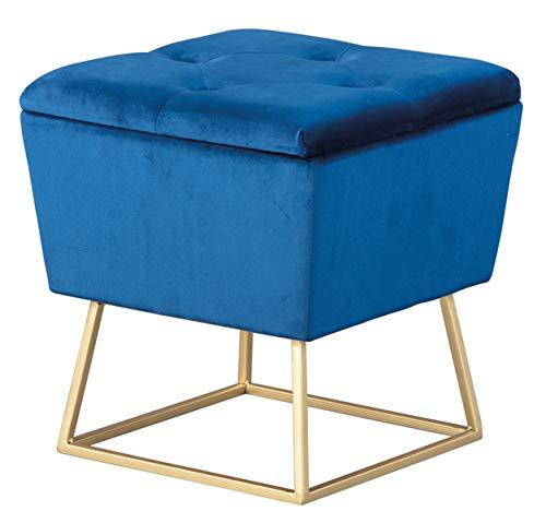 PEGANE Pouf carré Velours Bleu Pieds métal doré - Dim : L 38 x H 42 x P 38 cm
