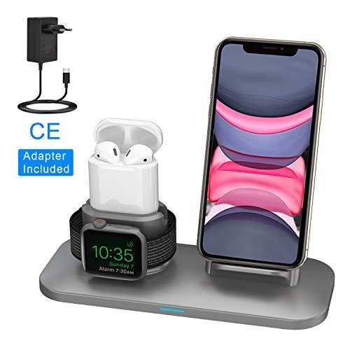 Supporto Caricabatterie Wireless 3 in 1 Caricatore Stand per Apple Watch, Qi wireless caricatore supporto di ricarica docking station per Airpods iPhone X/8 Plus/XS MAX/XR Iwatch 4/3/2/1-Grigio