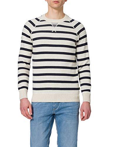Superdry Essential Cotton Crew Sudadera, Ice Marl/Navy Stripe, L para Hombre