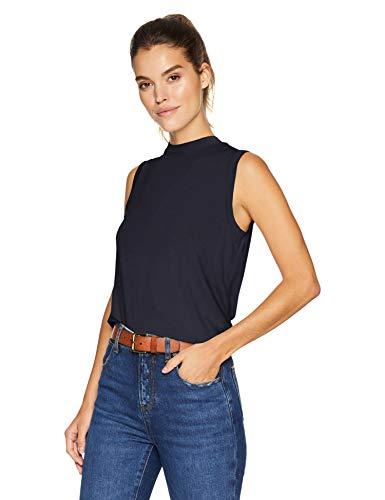 Amazon Brand - Daily Ritual Women's Jersey Sleeveless Boxy Mock-Neck Shirt, Navy, Small