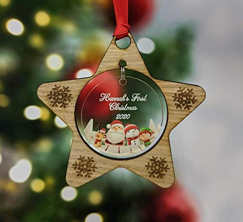 RJWprint Personalised Christmas Bauble Tree Decorations with Names 2020 Gift for Babys First Xmas 1st