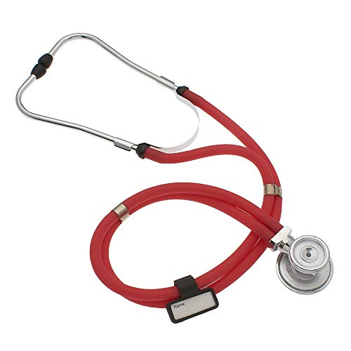 ASA Techmed Premium Stethoscopes Sprague Double Tube Adult and Pediatric Stethoscope - Ideal Gift for EMT, Nurse, Doctor, Medical Student, Paramedic and First Responders Includes Accessories (RED)