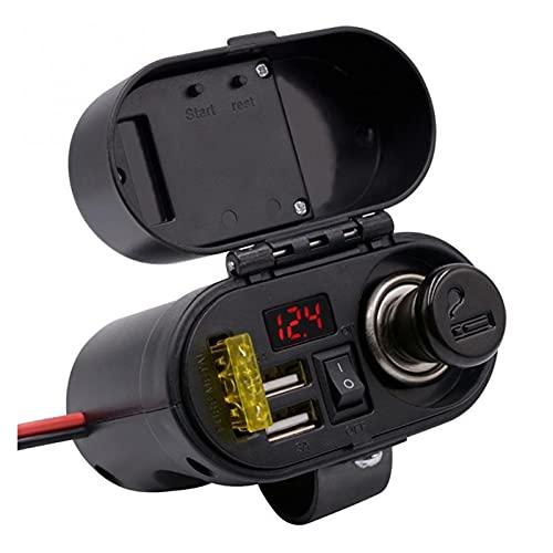 WANGYOU Motocicleta Impermeable Coche Cigarette Encendedor Kit de Enchufe Dual Moto USB Cargador Potencia LED Voltímetro Pantalla de Tiempo Ajuste para Barco ATV Lasting (Color Name : Black)
