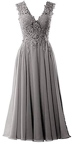 Snow Lotus Damen V Ausschnitt Spitze Mutter Braut Kleider Midi Tee Länge Hochzeit Kleider Gr. 44, grau