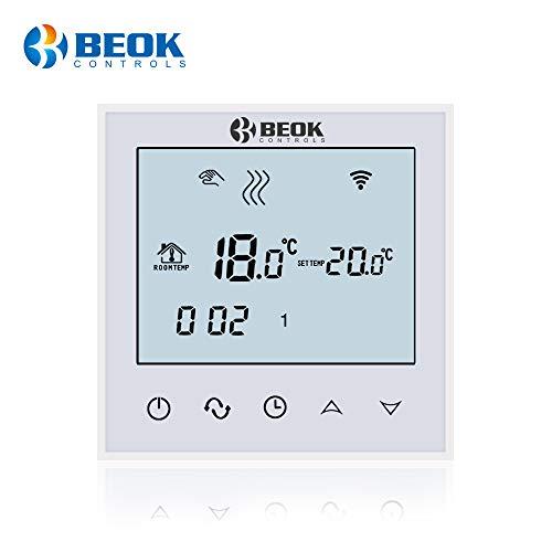 Preisvergleich Produktbild Beok tds21 Wifi Digital Raumthermostat Fußbodenheizung Thermostatheizkörper Wandthermostat programmierbar Room mit großer LCD-Bildschirm Fernbedienung durch Smartphone App