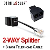 RJ11 Splitter Duplex In-line Telephone Adapter (Black, 2-WAY Splitter)