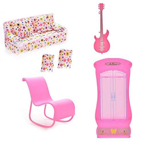 DDG EDMMS 6 Barbie Accesorios para Muebles muñeca Muñeca Mini Muebles de la casa Sofá Guitarra Armario Silla Mecedora con el Juguete Accesorios 2 cojín de Barbie casa de muñecas