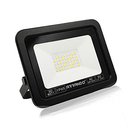 Faretto LED da Esterno 30W Impermeabile IP65 12V 3000LM 6500K Luce Bianco Freddo Faro LED per Giardino,Cortile,Garage,Magazzino,parcheggio