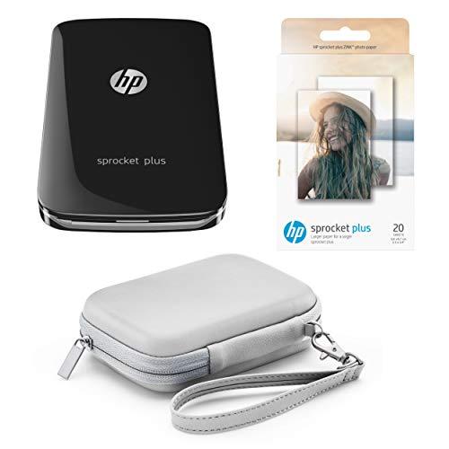 Pack HP Sprocket Plus – Imprimante Photo Portable Noire + Housse Grise + 20 Feuilles Zink (Impression Couleur, 5.8 x 8.6cm, Bluetooth)