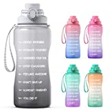 Y&3 64oz Half Gallon Water Bottle with Straw & Time Marker, Motivational Water Bottle with Handle, Leakproof, Tritan BPA Free Water Jug, for Fitness, Gym, Outdoor (Gray Gradient, 64oz)