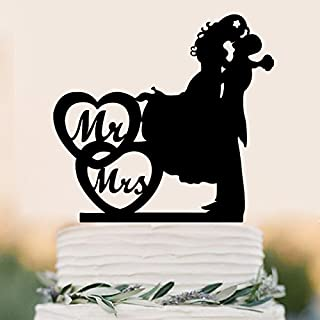 Mr And Mrs Cake Topper Wedding Rustic Anniverary Family Bride Groom Kissing Love Couple Party Decoration