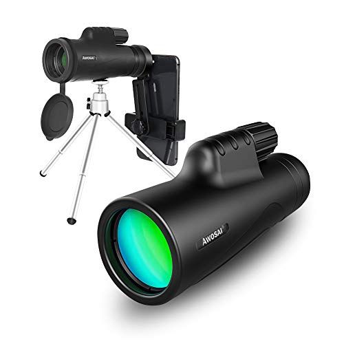 Monocular Telescope 12x42 High Definition with Smart Phone Holder and Tripod IPX7 Waterproof Monocular Clear FMC BAK4 Prism for Wildlife Bird Watching Hunting Camping Travelling Wildlife Scenery