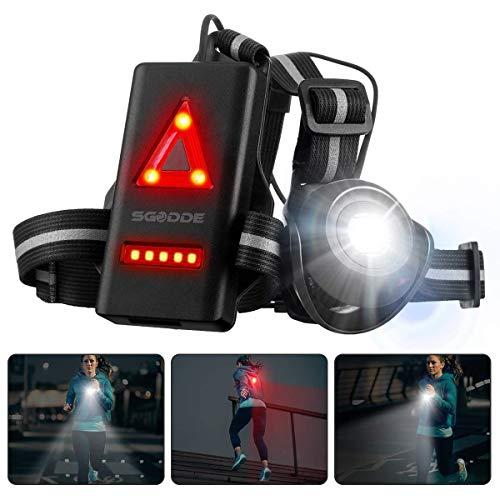 ランニングライト ledライト チェストライト ジョギングライト SGODDE 夜間 500ルーメン USB充電 IPX4防水 2つの点灯モード 警告灯 ランニング ジョギング ハイキング 腰 ライト 超軽量 (ブラック)