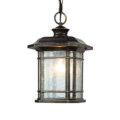 Retro hanglamp E27 buitenlamp waterdicht IP23 hanglamp buiten binnen paviljoen tuinverlichting buiten tuin balkon terras verlichting, aluminium glas, zwart-goud, 17,5 x 17,5 x 29 cm
