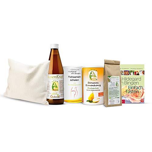 Hildegard von Bingen – pacchetto Fastenpacket – 6 pezzi – 1 cuscino per erbe aromatiche, 1 forza basica, 1 tè al mostro, 1 miele di pera, 1 ciotola per semi di pulci, 1 libro a forma di abete
