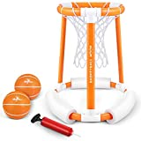 iBaseToy Pool Basketball Hoop, Floating Basketball Hoop for Pool, Inflatable Basketball Hoop Set with 2 Balls and Pump, Water Basketball Game Pool Toys for Kids and Adults