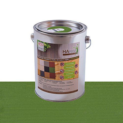 Bio Holzschutz farbig Tannengrün Holzschutzlasur HAresil Color 2kg Eimer Wetterschutzfarbe Dauerschutzfarbe matt Holzwurmfrei,Pilzbekämpfung für Innen und Außen (Tannengrün)
