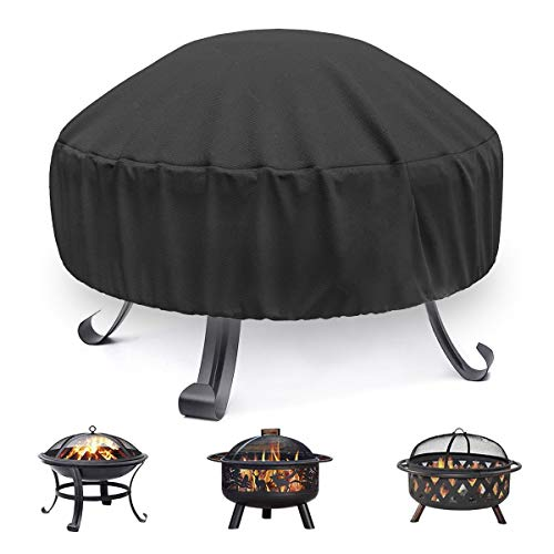 Vodche Fire Pit Cover Round for Fire Pit 22 Inch - 34 Inch, 420D Heavy Duty Outdoor Fire Pit Cover Full Coverage Patio Outdoor Fireplace Cover, Waterproof, Dustproof and Anti UV, Fit All Seasons