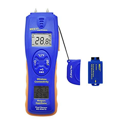 Meet Feuchtigkeitsmessgerät Kabellose Verbindung, Thermo-Hygrometer Feuchtmessgerät für Wände, Brennholz, Holz, Estrich, Beton und weitere Baumaterialien