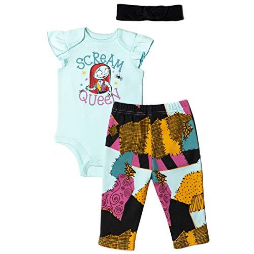 Disney Nightmare Before Christmas Sally Baby Girls Bodysuit Pants & Headband Set 3-6 Months Blue