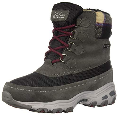 Skechers D'Lites - Bottes de randonnée - Mi-mollet à lacets - Avec col plaid anti-neige - Pour femme, gris (charbon), 40.5 EU