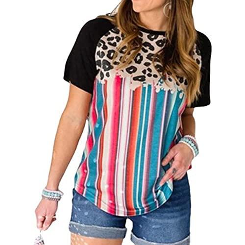 SLYZ Camiseta Casual De Manga Corta De Verano para Mujer Camiseta con Estampado De Leopardo con Estampado Boho para Mujer