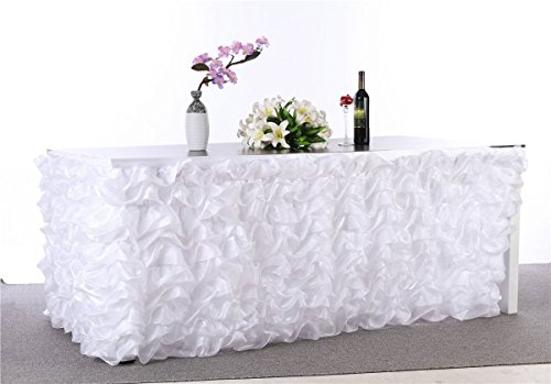 """Abwin Handmade Deluxe Elegant Tulle Table Skirt for Party Decoration,Birthdays, Wedding and Home Decor, 9F Long by 29"""" High (White)"""