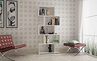 BRV Moveis Book Shelf With Five Shelves, White - H 184 cm x W 78.5 cm x D 31 cm