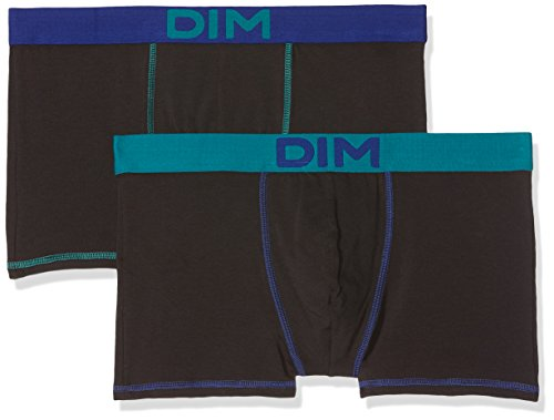 Dim Mix and Colors Boxer Homme, Multicolore (Turquoise/Noir CT Bleu Indigo 6w0), X-Large (Taille fabricant: 5) (Lot de 2)