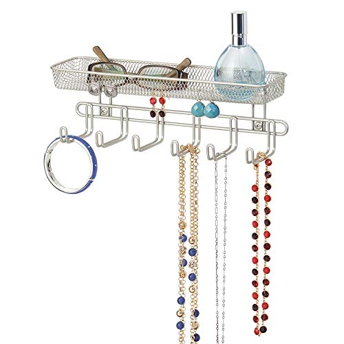 mDesign Metal Closet Wall Mount Jewelry Accessory Storage Organizer Shelf with 6 Hooks and 1 Basket for Storage of Necklaces, Bracelets, Rings, Earrings, Sunglasses, Wallets - Satin