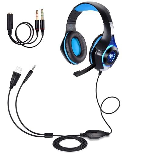 Casque Gaming PS4 PC Xbox One Switch, Samoleus Casque Gamer avec Micro LED Lampe 3.5mm Audio Surround Stéréo Basse Contrôle du Volume , pour Laptop,Smartphone, Playstation 4 (Blue)