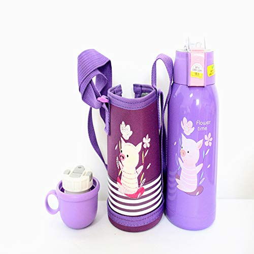 Xme Taza para niños, Maceta de Aislamiento de Temperatura con Pantalla de Dibujos Animados, Taza de Paja de medición de Temperatura de Acero Inoxidable