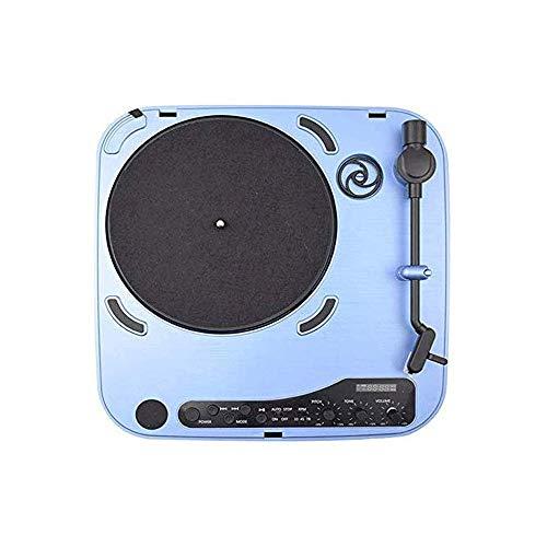 TBTUA Fonógrafo clásico Vintage, Placa giratoria de los Discos de Vinilo del Tocadiscos con Altavoces de diseño Retro-Port USB portátil Maleta Azul Restaurante de reproducción de música