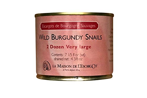 Premium Escargot Wild Burgundy Snails – Rated Number One – Best For Escargot Recipes, Various Sizes … (2 Dozen Very Large)