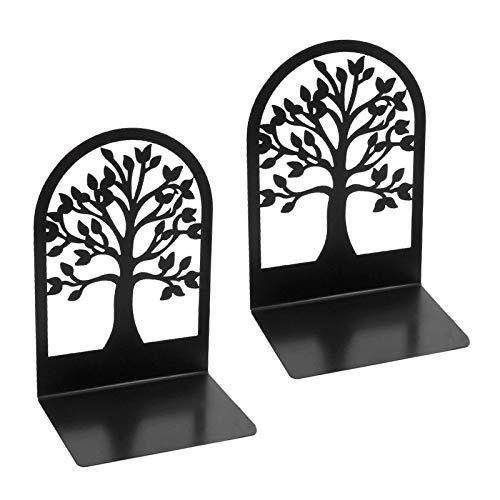Hangarone Organizador de libros Bookends Shelf, antideslizante, de metal negro, soporte para libros para estanterías para escritorio, oficina, decoración interior, 12 x 9 x 17,6 cm