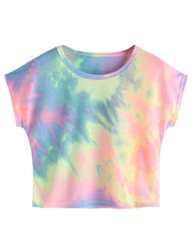 SweatyRocks Womens Tie Dye Letter Print Crop Top T Shirt,Multicolor 4,Large =M