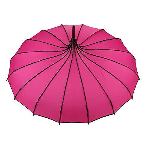 GUTING Paraguas Pagoda, Parasol Y Parasol Pagoda Protector Solar, Buena Elasticidad,Buena Absorción De Humedad, Pequeño Y Fresco,El Paraguas Pagoda De 16 Huesos No Es Fácil De Usar (Rosa Roja)