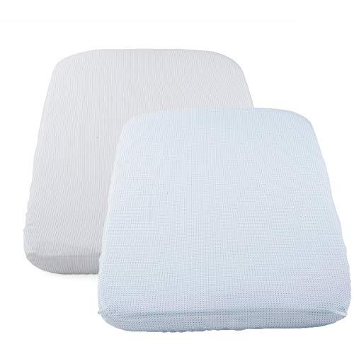 Chicco Babybettwäsche-Set Kompatibel mit Next2Me, 2 Stück, 50 x 83 cm, 100% Baumwolle, 2 Spannbettlaken mit Gummizug, 1x gemustert, 1x unifarben - Neugeborenes Babyzubehör 0+ Monate