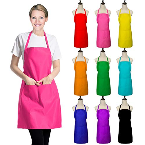XEEYAYA 9 Pack Multicolored Bib Apron for Women Adult Girls Ladies with Pockets - Kitchen Aprons Bulk for Cooking Painting BBQ Grilling Baking (9 Pack, Multicolored)