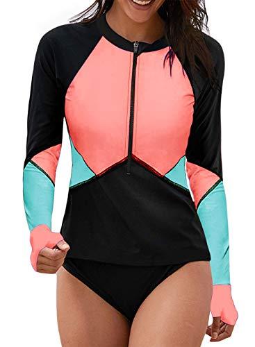 Aleumdr Womens Zipper Striped Printed Rash Guard Swimsuit Athletic Sun Shirt Blue Large 12 14