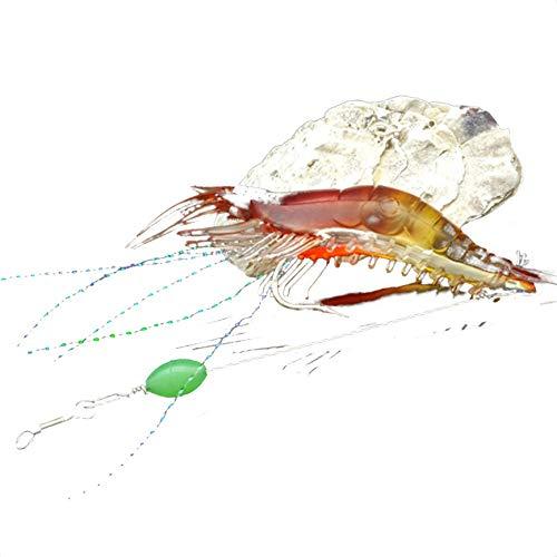 Chunyang 1pc Angelhaken Soft-Garnele-Köder Salzwasser Elritze Fisch-Köder-Lachsforelle Bass Künstlicher Köder Tackle Farbe Random