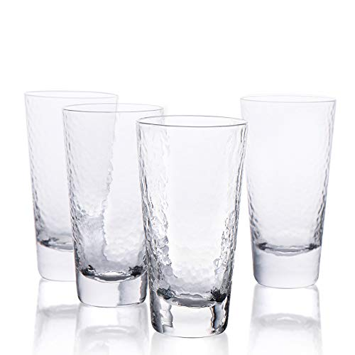 Kanwone Highball Glasses - 12 Ounce Lead-Free Crystal Clear Glass, Elegant Drinking Cups for Water, Juice, Beer, Cocktails and Mixed Drinks, Set of 4