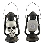 KLDJHNS Halloween Lights, LED Skull Lantern Glowing Eyes Creepy Hanging Lamp Halloween Decor Props, for Indoor Outdoor Living Room Yard Patio